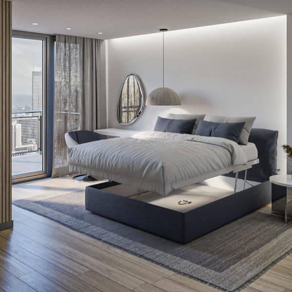 Łóżko rozkładane tapicerowane AREO z pojemnikiem na pościel